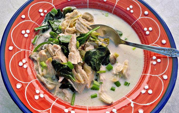 Tom Kha Gai soup with boiled rice