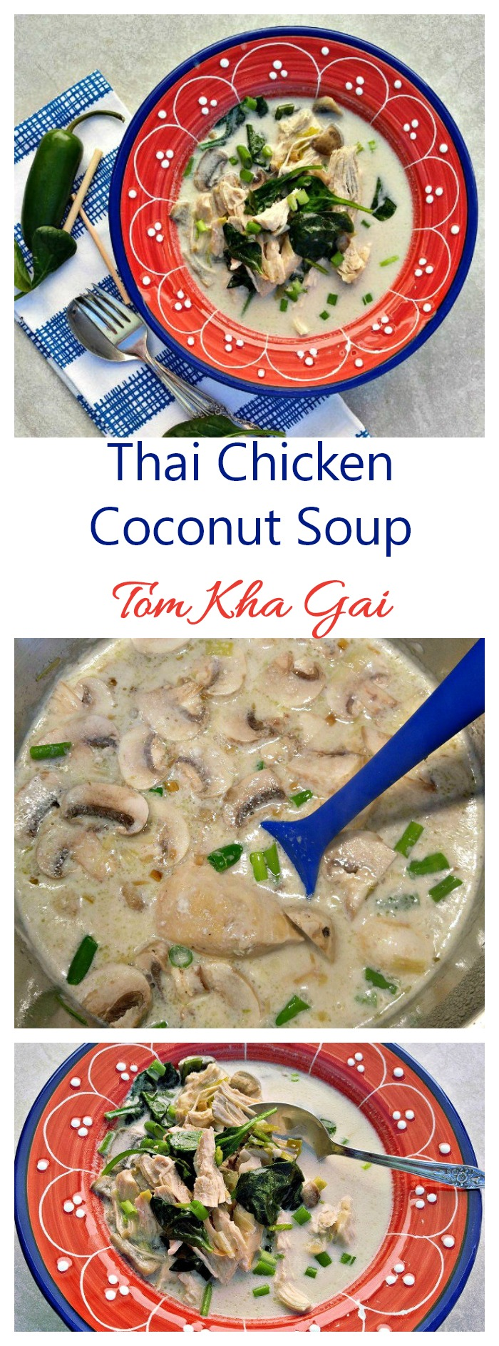 This Thai Chicken Coconut Soup is sweet, salty, sour and spicy, all in one spoonful. It is also known as tom kha gai. #tomkhagai #thaisouprecipe