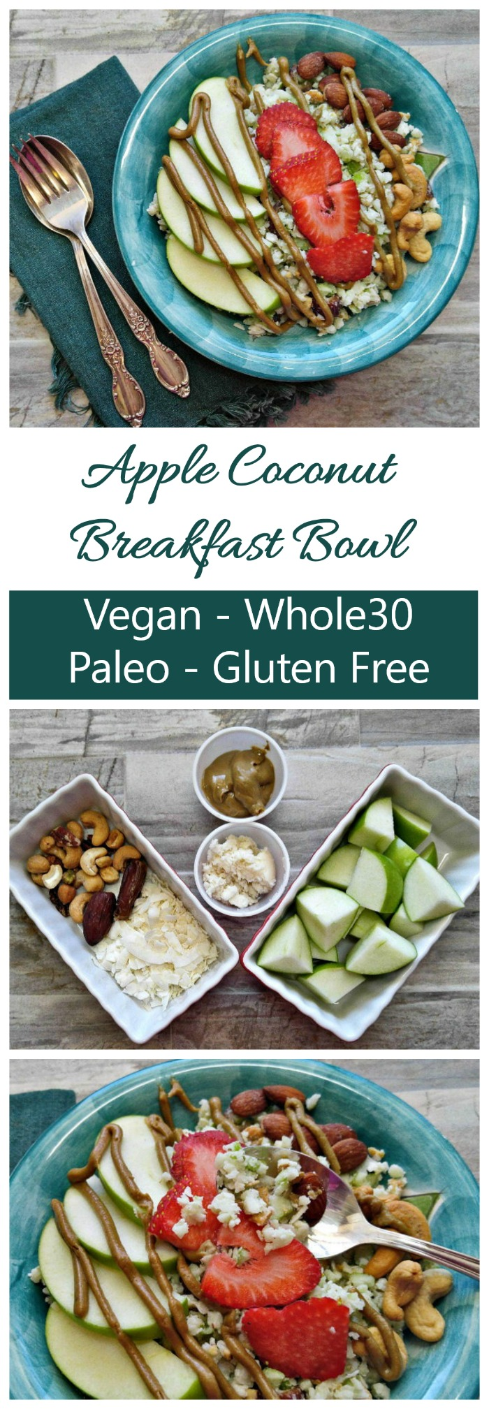 This Whole30 Apple Coconut Breakfast bowl has just a few ingredients and is ready in just minutes. #whole30breakfastbowl #whole30recipes