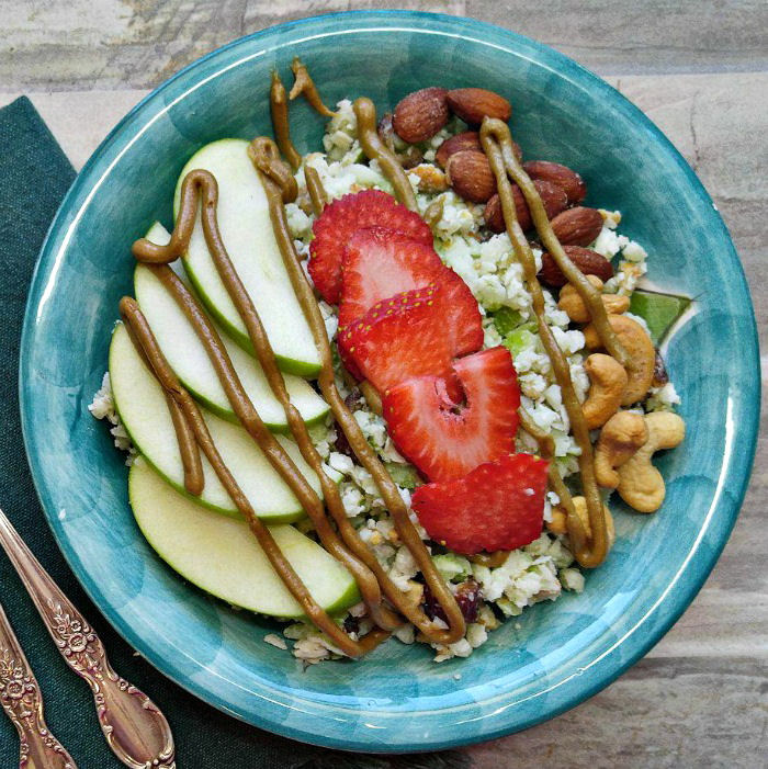 Healthy Paleo breakfast bowl with sunflower nut butter