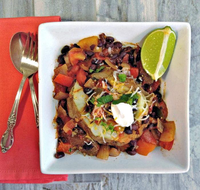 chili over a baked potato
