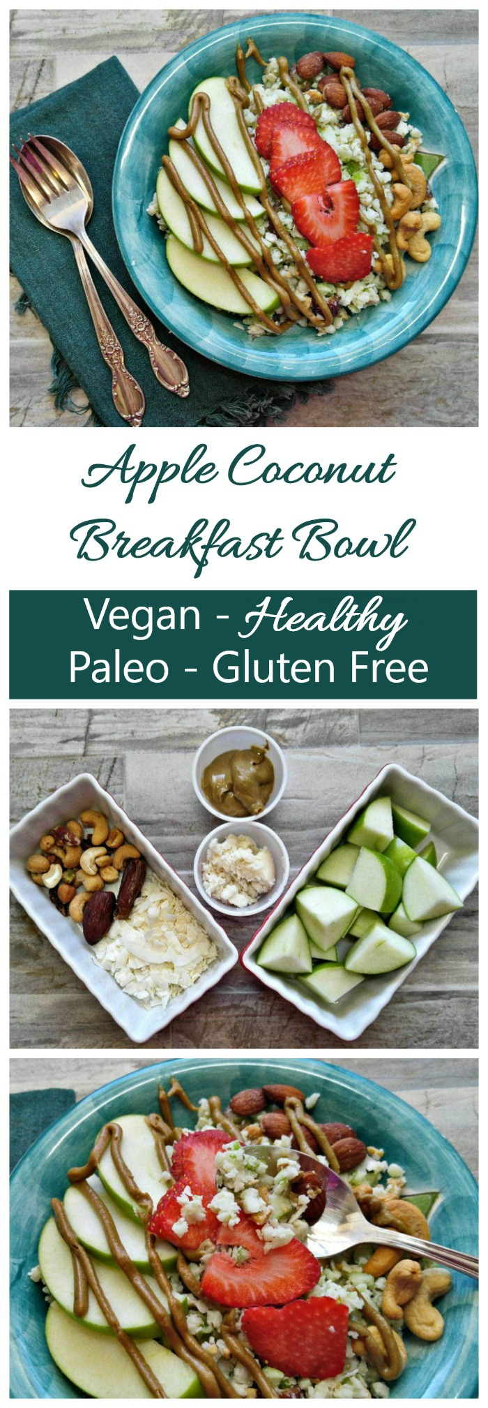This healthy Apple Coconut Breakfast bowl has just a few ingredients and is ready in just minutes. #whole30breakfastbowl #whole30recipes