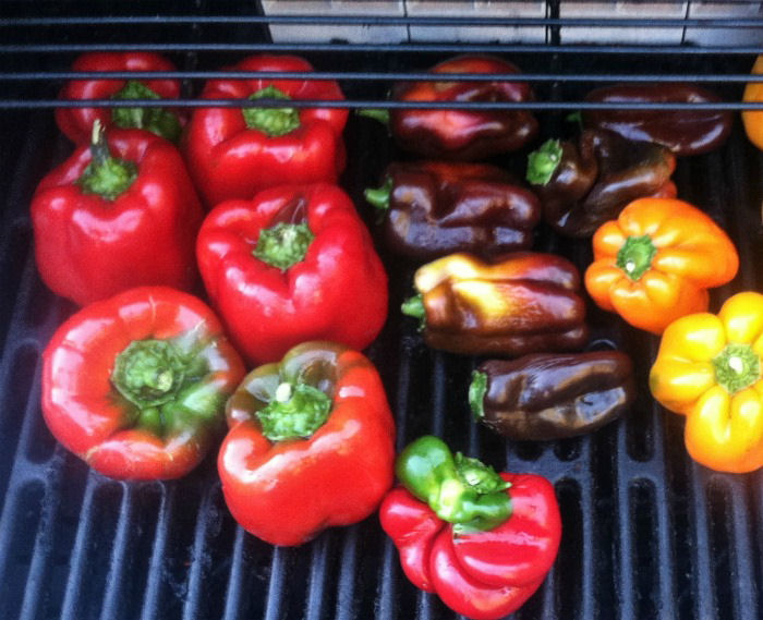 Bell peppers on a gas grill