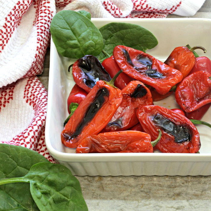 bowl of red peppers baked in the oven