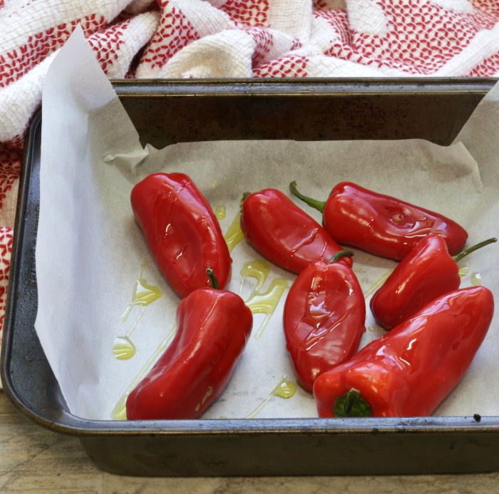 Red peppers in a bakin gpan