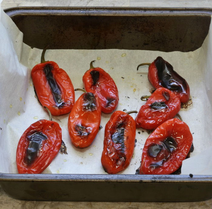 Roasted red peppers in a pan