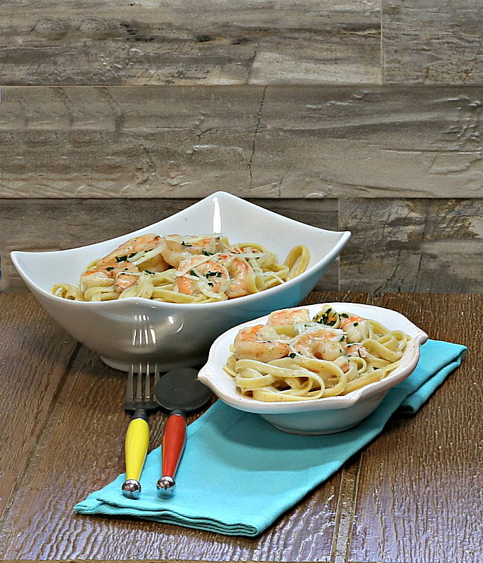 This skinny shrimp Alfredo has been slimmed down but is still full of flavor