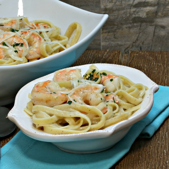 Bowl of shrimp Alfredo