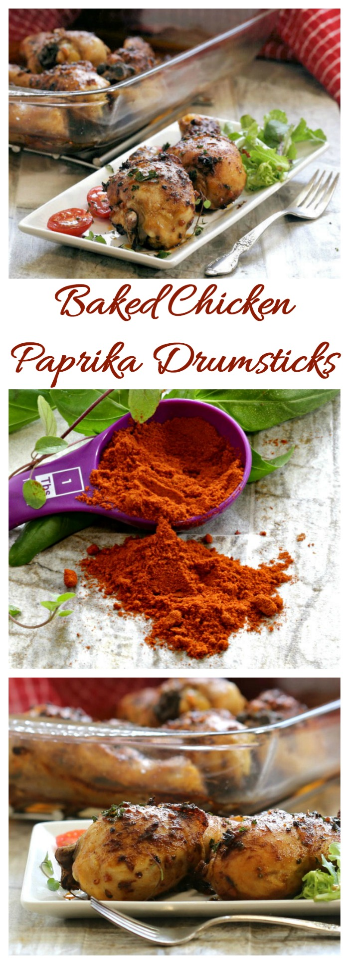 These baked chicken paprika drumsticks are fork tender and so juicy. The paprika herb marinade makes them taste amazing.