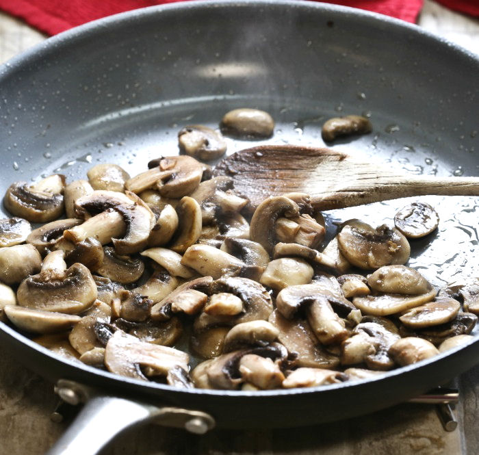 Cooked mushrooms will be added to the Parmesan sauce