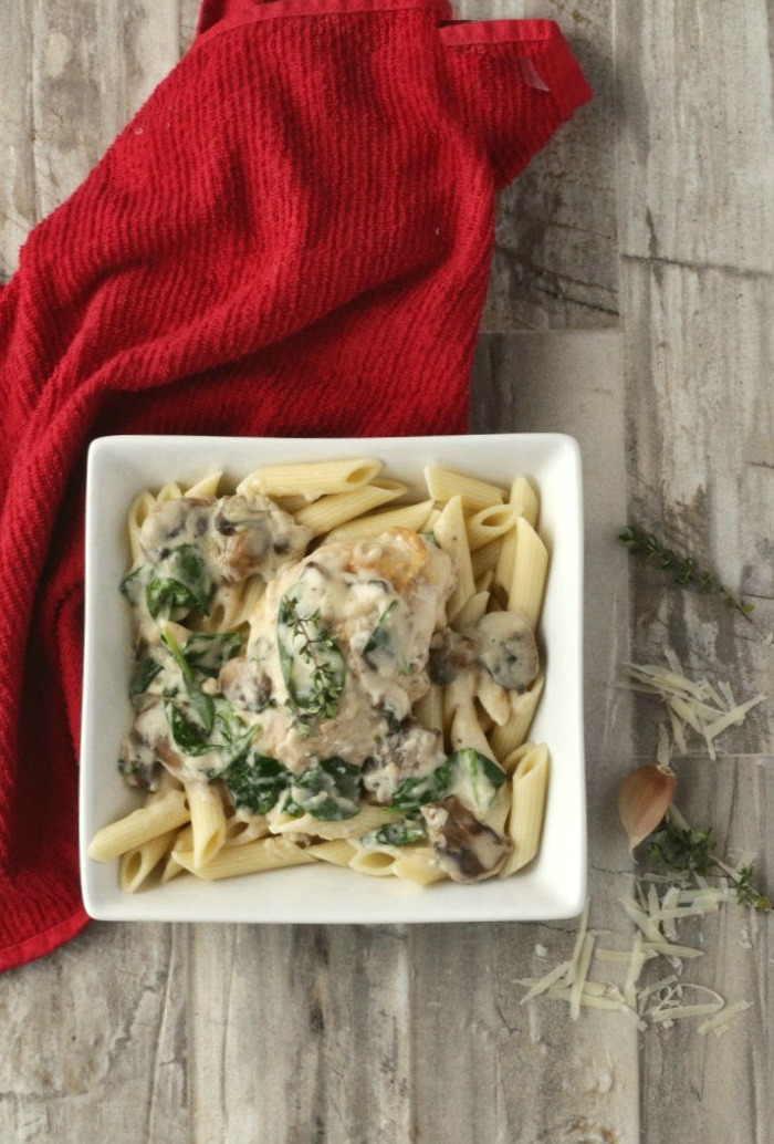 This plate of Parmesan garlic chicken with mushrooms and spinach is comfort food personified!