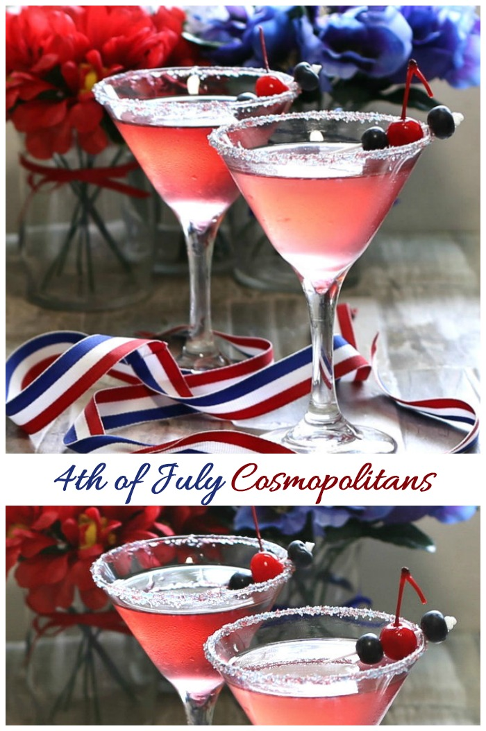 These 4th of July Cosmopolitans are all dressed up in Patriotic colors of red, white and blue