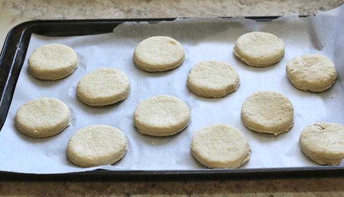 Biscuit dough ready to cook.