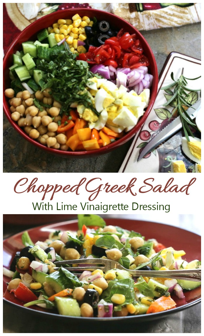 This chopped Greek salad is full of fresh Mediterranean vegetables and has a home made lime vinaigrette dressing.