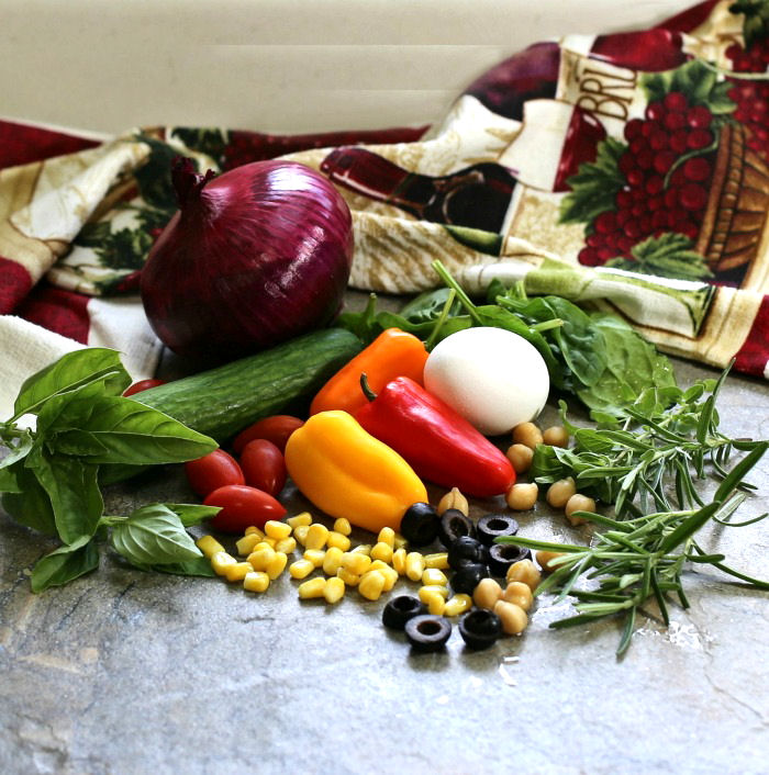 These Mediterranean vegetables will add so much freshness and color to this chopped Greek salad
