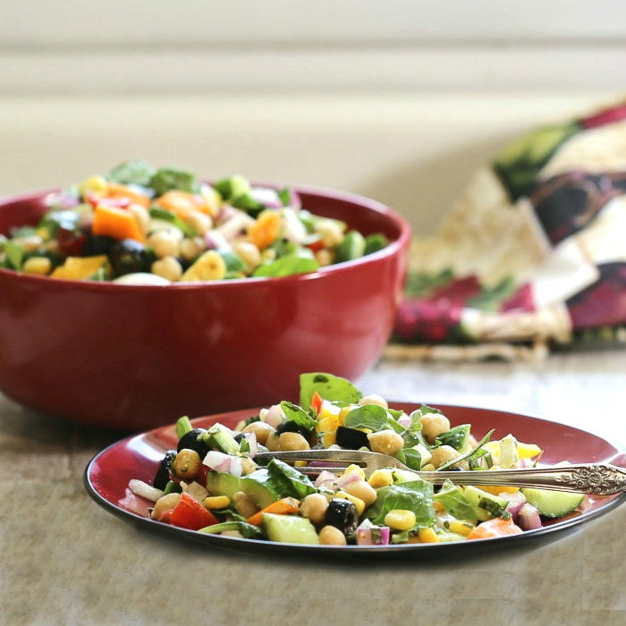 Bowl and plate of chopped Greek Salad