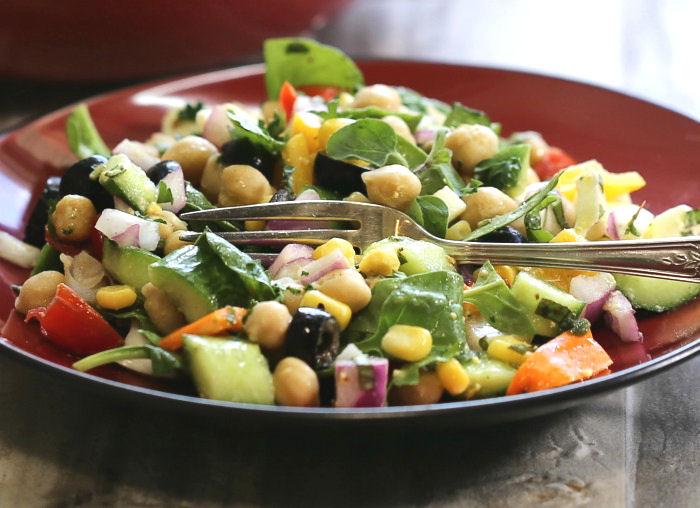 Tasting Greek chopped Salad