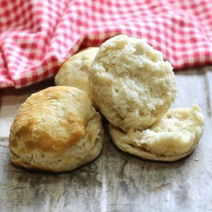Cooked buttery biscuits.