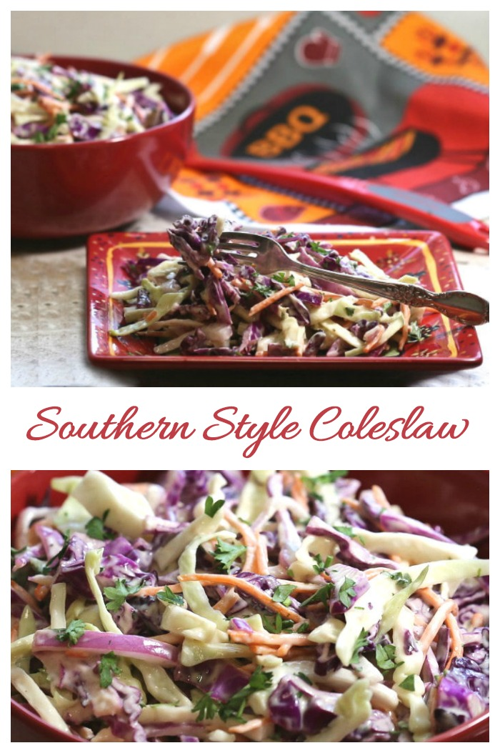This homemade Southern coleslaw recipe is perfect for summer barbecues. It is fresh and crunchy with a tangy homemade dressing.