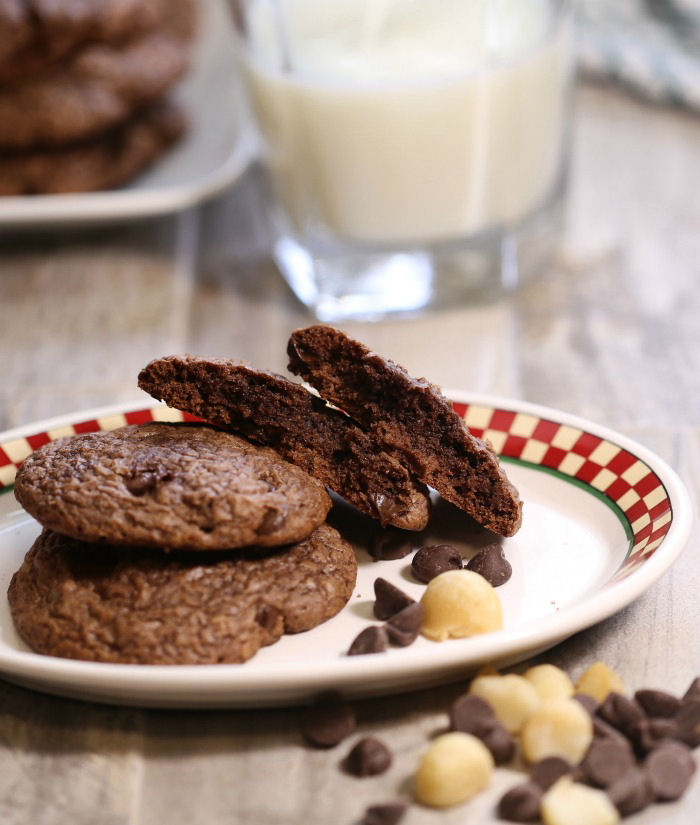 These brownie cookie and milk are an easy and decadent snack time choice