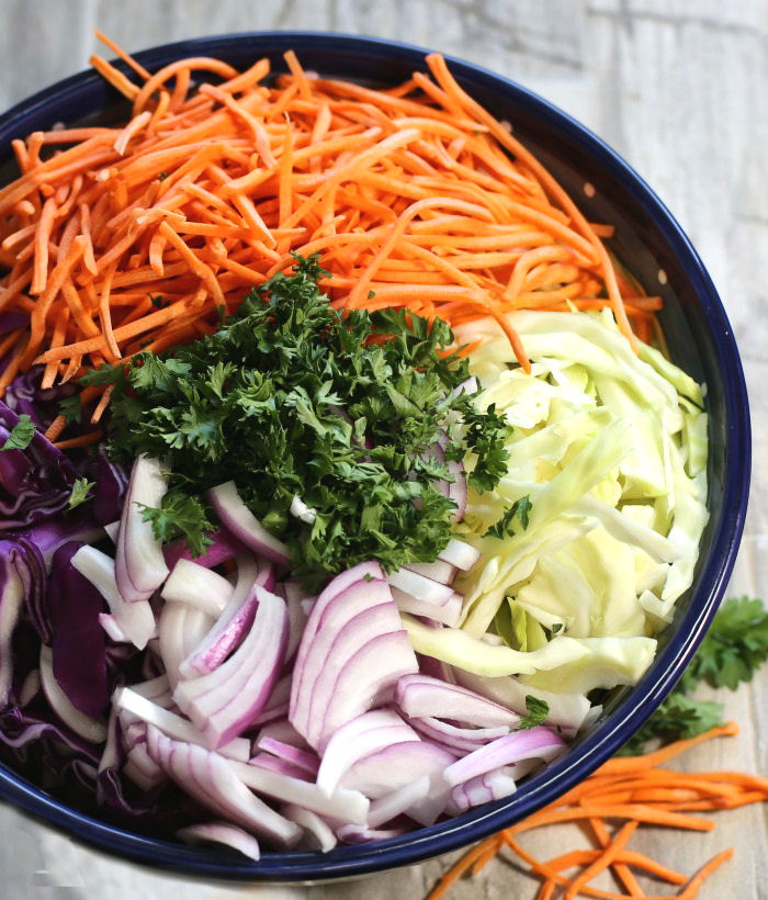 Chopped coleslaw vegetables