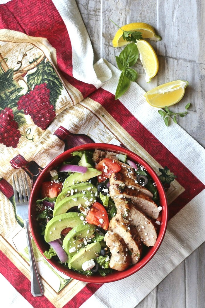 This Mediterranean chicken salad is healthy and tasty and super easy to put together. The homemade dressing also serves as a marinade for the chicken!.