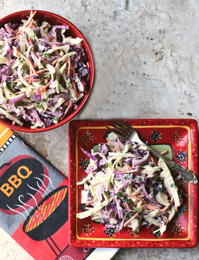 This southern style coleslaw is fresh and bright with a tangy home made dressing