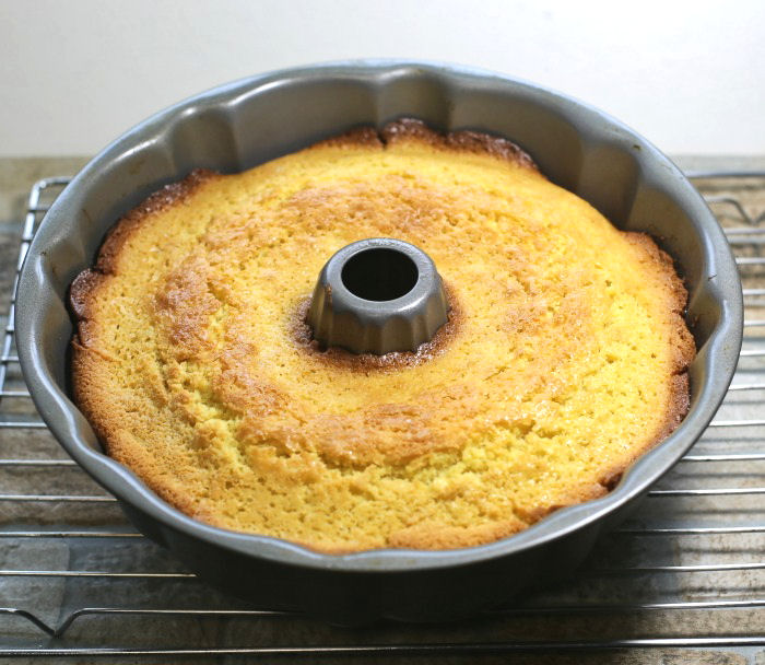 Cooked lemon bundt cake with pudding