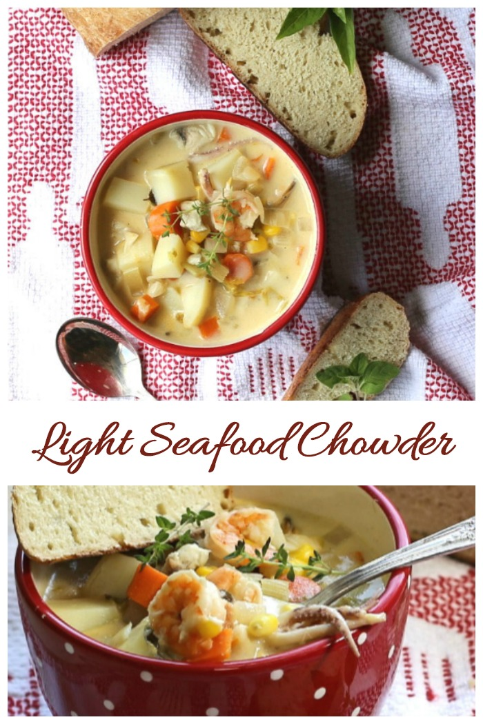Light seafood chowder New England style with lots of different textures and tastes.