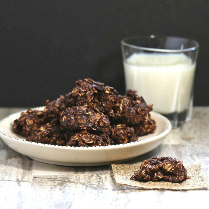 This No Bake Peanut Butter Chocolate Cookie has been lightened up for a gluten free, dairy free and vegan treat.