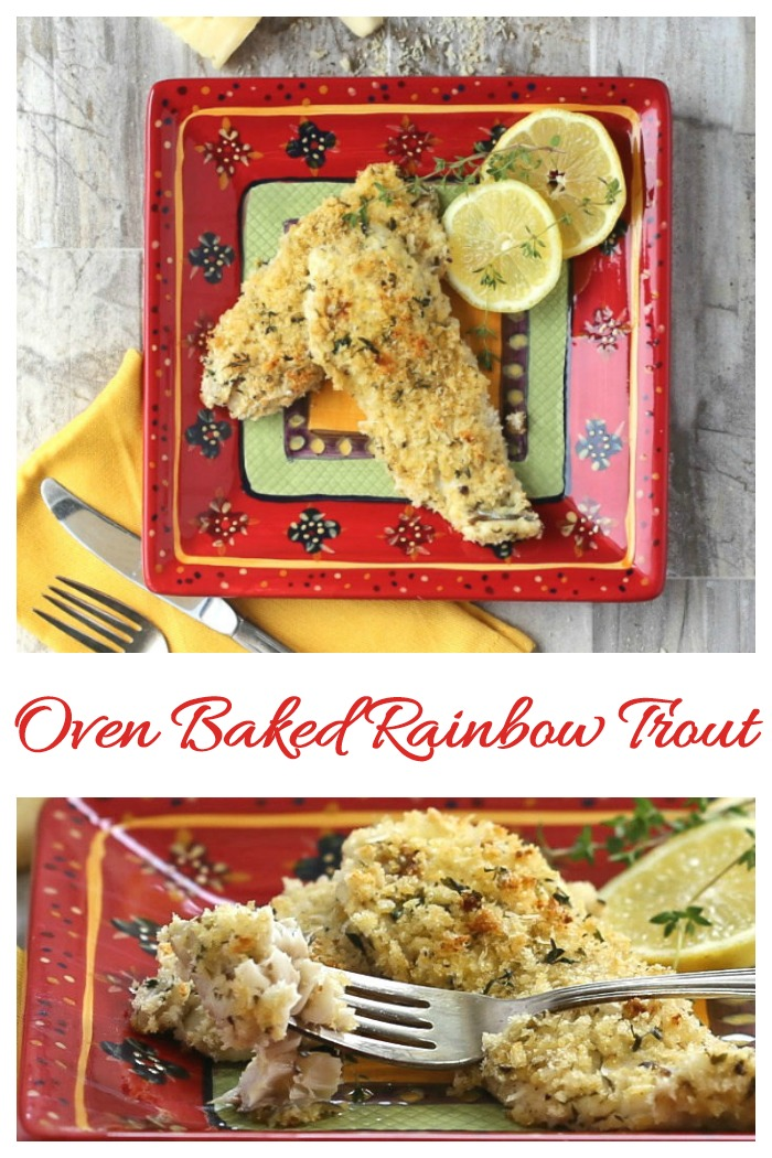 This oven baked rainbow trout recipe is crispy and crunchy on the outside and very tender and flaky in the center. It's ready in less than 30 minutes!