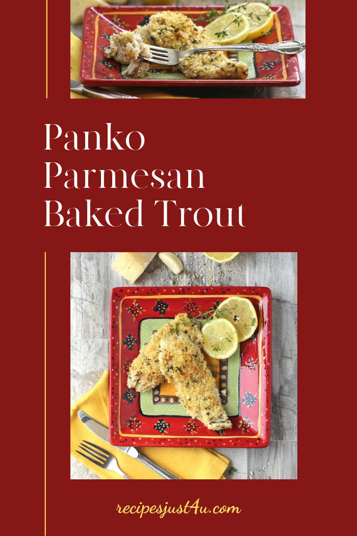 Baked trout recipe photos on a red background and text reading Panko Parmesan Baked Trout.