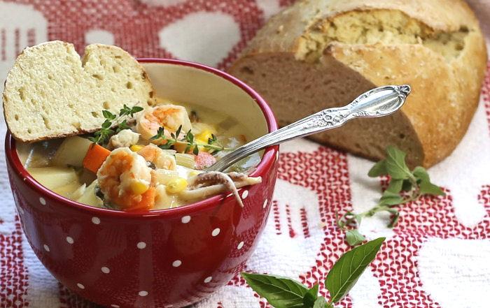 Tasting seafood soup