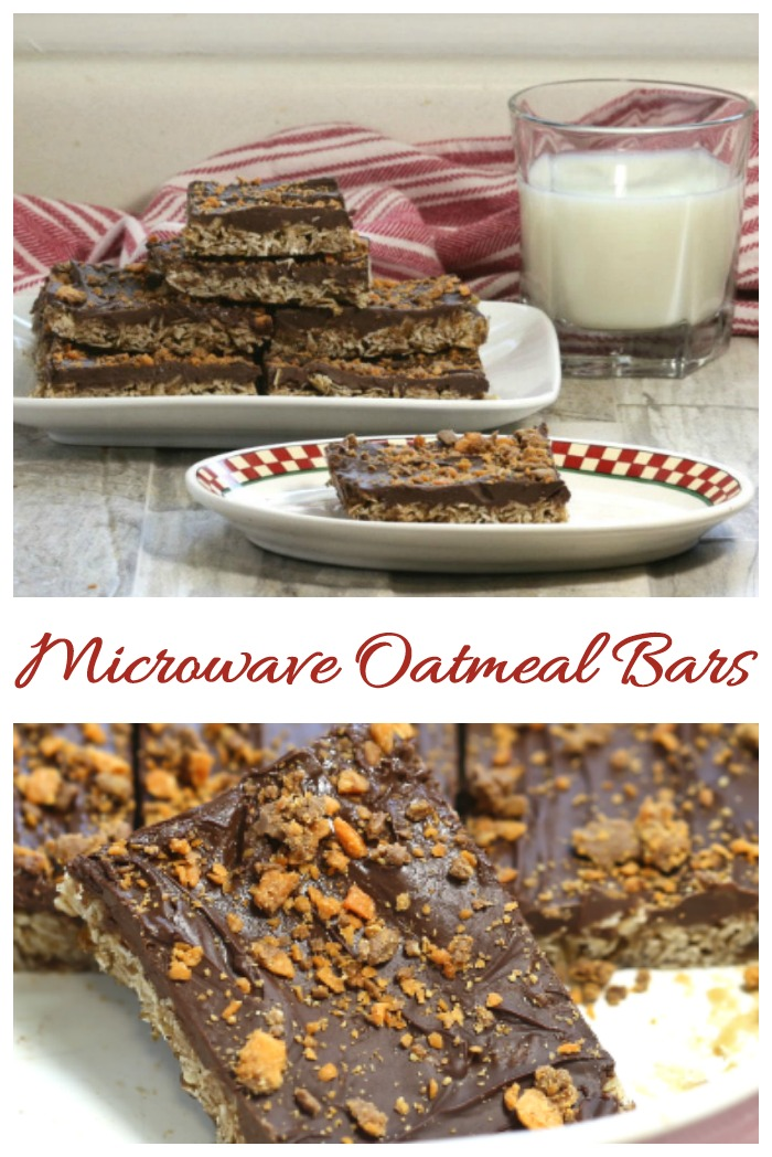 These Butterfinger microwave oatmeal bars use just 6 ingredents and are made in just minutes.