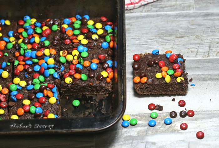Brownies with M & Ms on top