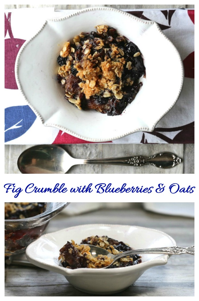 This fig crumble just oozes with the flavor of fresh figs and blueberries with a crunchy streusel topping