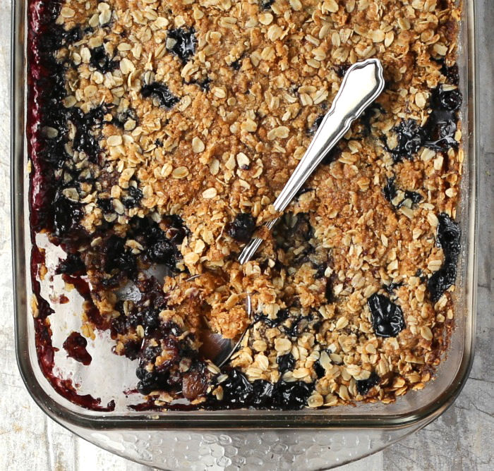 Dish of fig crumble