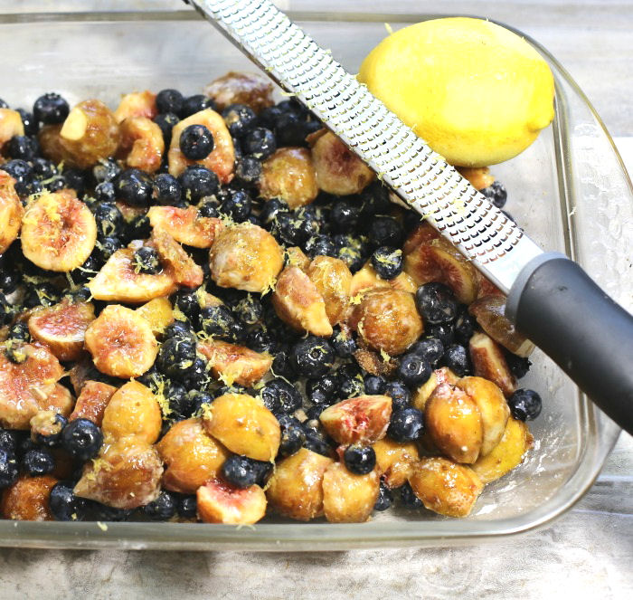 blueberries and figs with lemon zest