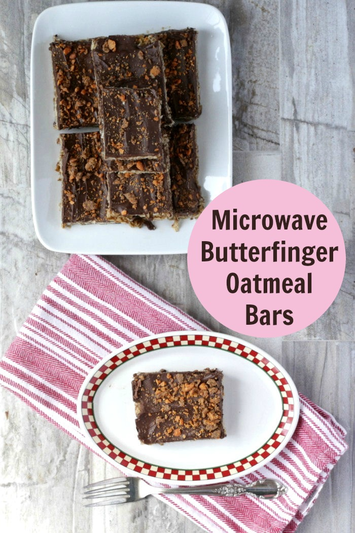 Microwave Butterfinger Oatmeal Bars are easy to make