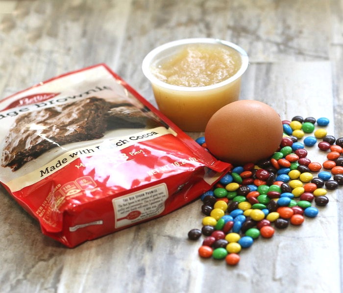 Just five ingredients make these M & M box mix brownies