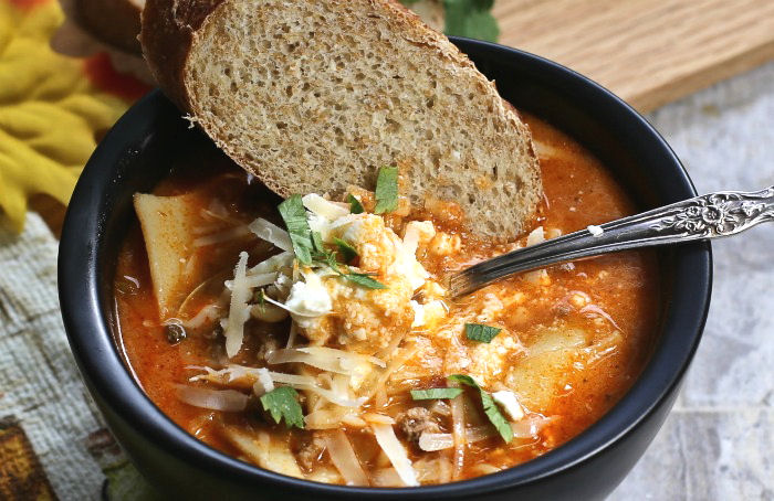 Eating a simple lasagna soup