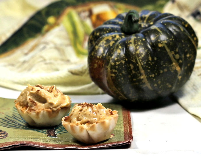 Pumpkin dip in phyllo cups