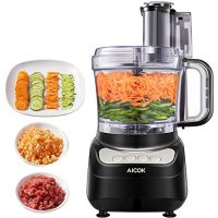 Food Processor 12-Cup, Aicok Multi-Function Food Processor, 1.8L, 3 Speed Options, 2 Chopping Blades & 1 Disc, Safety Interlocking Design, 500W, Black