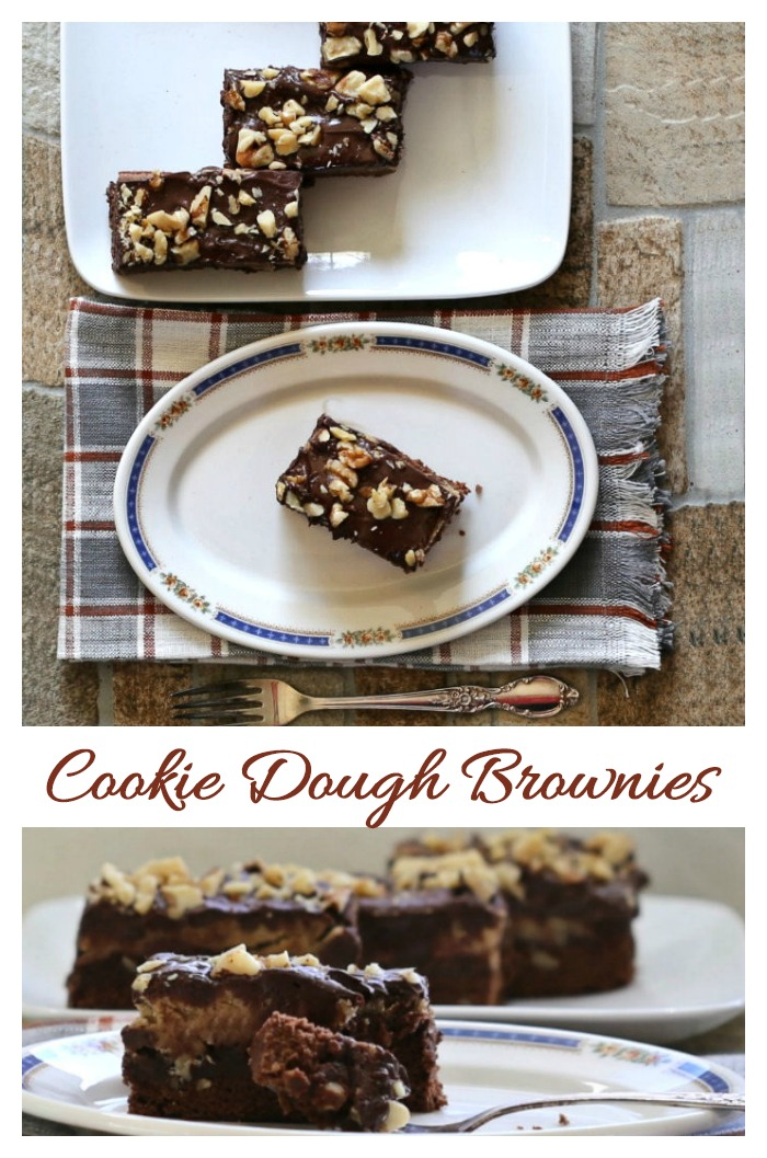 Cookie dough brownies with a rich chocolate glaze