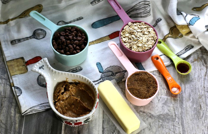 ingredients for no bake peanut butter oatmeal chocolate bars