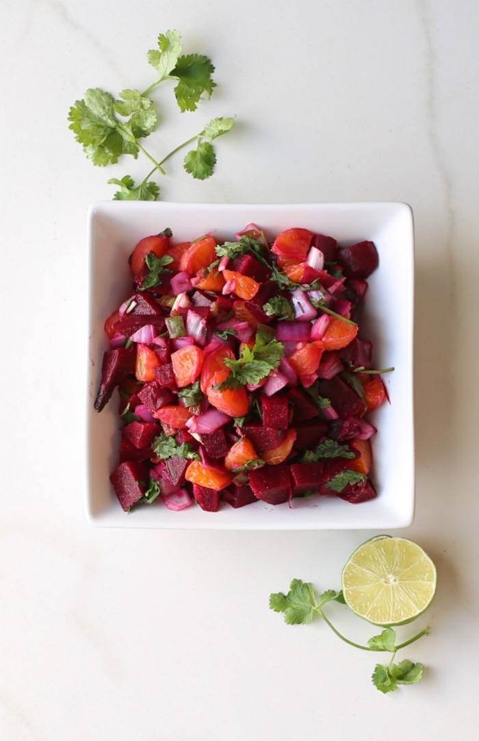 Try this hearty roasted beet salsa for a nice change from pico de gallo. Great as a side dish or topping for tacos.