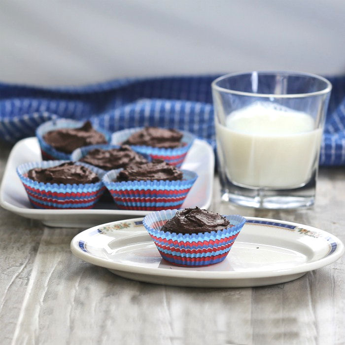 Dark chocolate cupcakes and a glass of milk