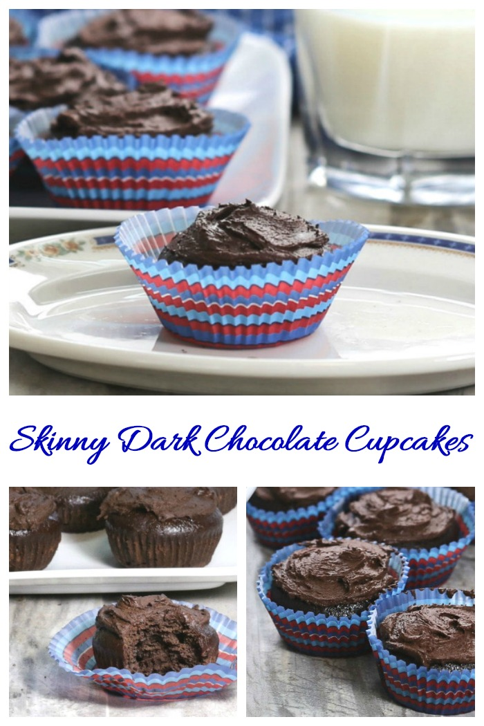 These skinny dark chocolate cupcakes have a deep, rich chocolate flavor and have only 139 calories and 6 WW freestyle points!