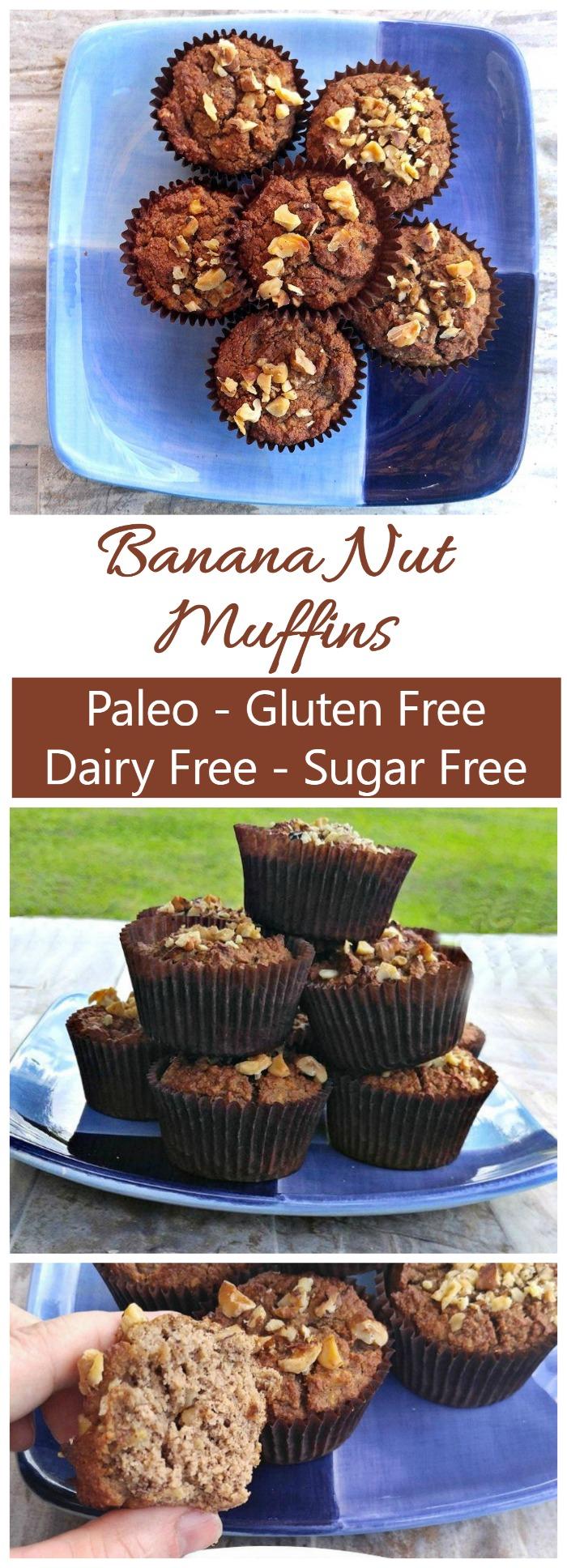 Paleo Banana Nut Muffins - Gluten Free - Sugar Free - Dairy Free