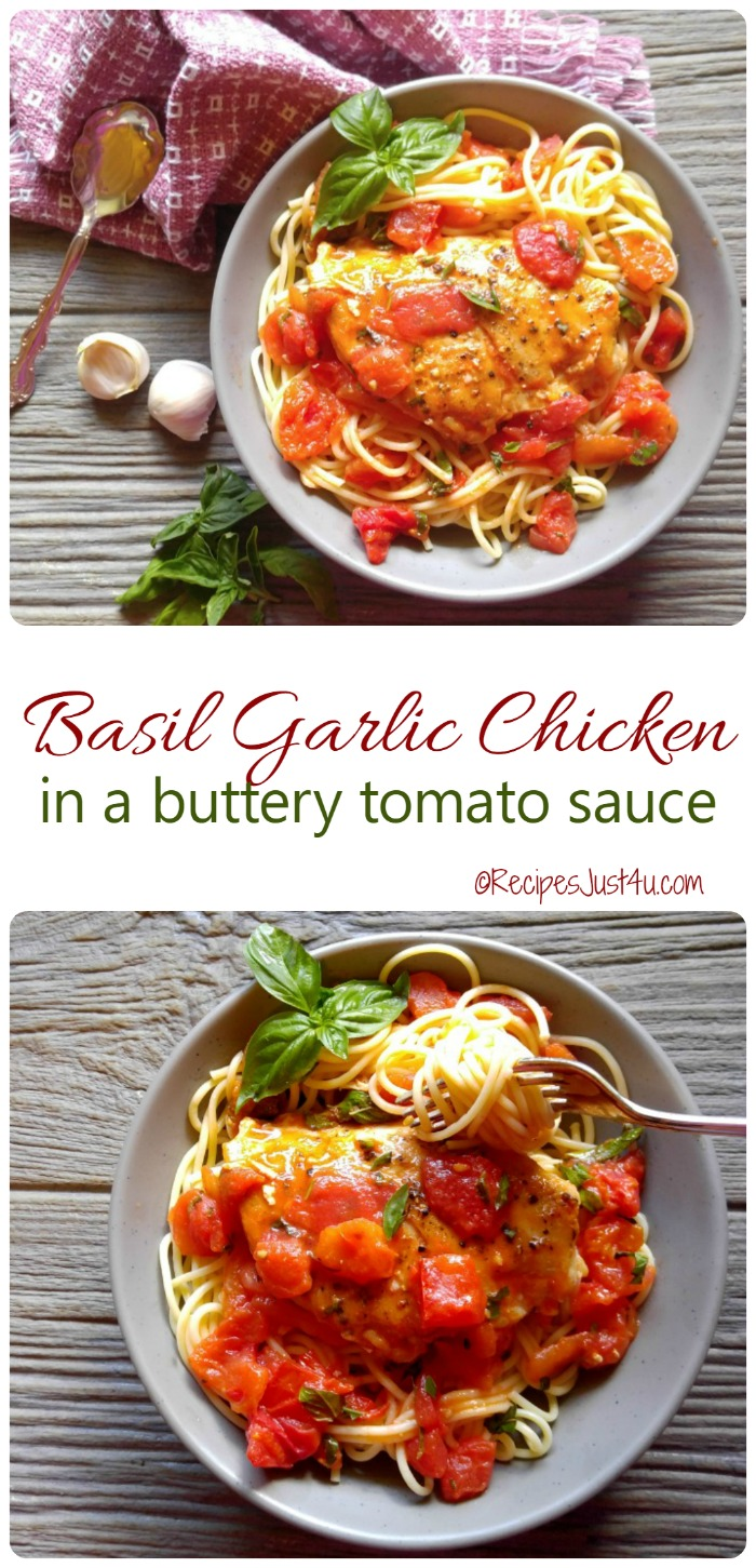 Basil Garlic Chicken with a Buttery Tomato Sauce